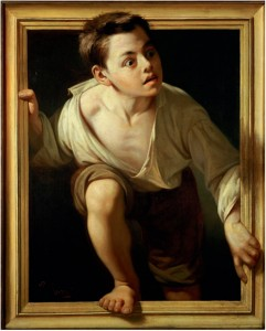 Pere Borrell del Caso, Escaping Criticism, 1874.  Courtesy Banco de Espana, Madrid.