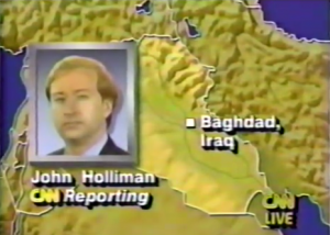 Screenshot from CNN's 1991 coverage of the Gulf War. Image taken from YouTube.
