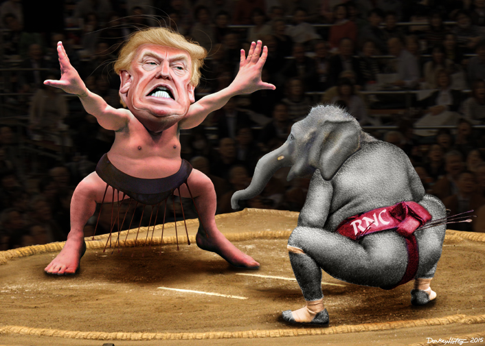 Yokozuna Trump vs. The RNC. Image credit: Flickr user DonkeyHotey. (CC BY-SA 2.0)