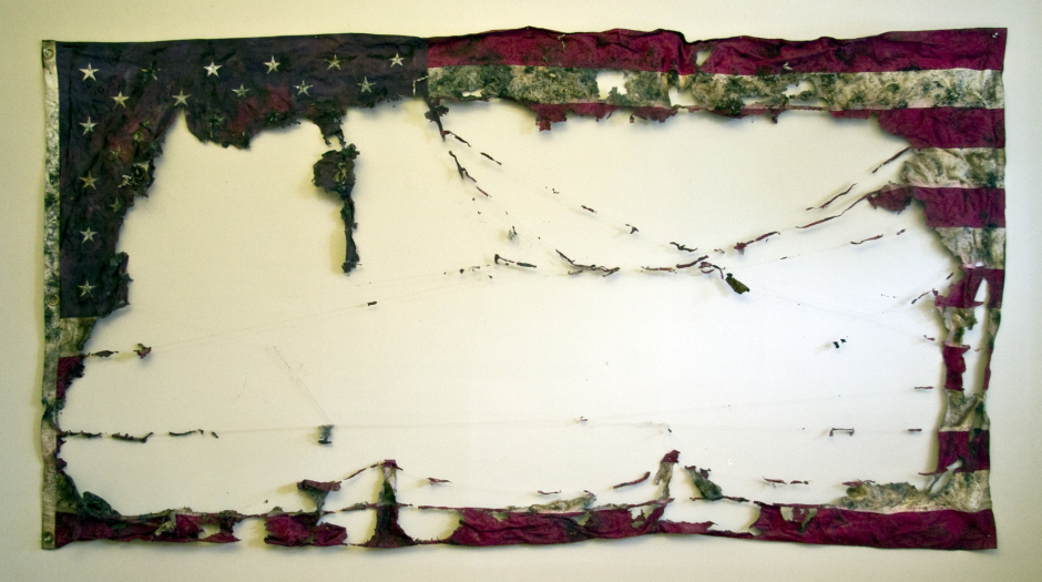 """Claire Pentecost,  """"Proposal for a New American Agriculture""""  vermicomposted cotton flag. 9' x 5'"""