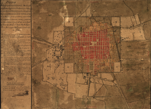 Iconographic Plan of Mexico City Showing the General Layout of its Pleasant and Beautiful Streets, as well as the Repair and Elimination of the Negative Features of the Various Neighborhoods, by Manuel Ignacio de Jesus del Águila (via Wikimedia Commons)