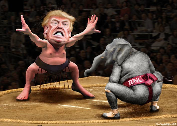 Yokozuna Trump vs. The RNC. Image credit: Flickr user DonkeyHotey. (CC BY-SA 2.0)